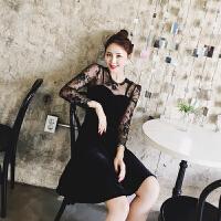 安尼纯【值得买】2017春装新款名媛气质显瘦蕾丝吊带拼接黑色金丝绒连衣裙女