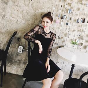 【满200减100】【值得买】2017春装新款名媛气质显瘦蕾丝吊带拼接黑色金丝绒连衣裙女