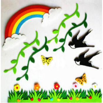 幼儿园教室装饰 燕子套装 幼儿园装饰画 学校商场墙面贴画贴纸 树叶条图片