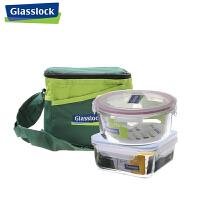 Glasslock 三光云彩 钢化玻璃保鲜盒 三光云彩密封微波餐碗两件套 GL35A 配置1200ML*1+950ML*1  带保温包