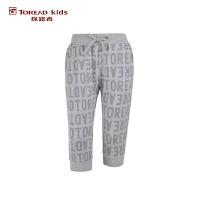 探路者TOREAD品牌童装 户外运动 夏装女童针织满印运动七分裤 儿童七分裤