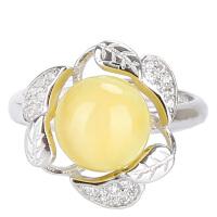 戴和美 精选天然琥珀蜜蜡s925银镶嵌蜜蜡圆珠三叶草开口戒指(附鉴定证书)