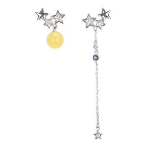 戴和美珠宝首饰耳饰 精选琥珀蜜蜡不规则个性耳环