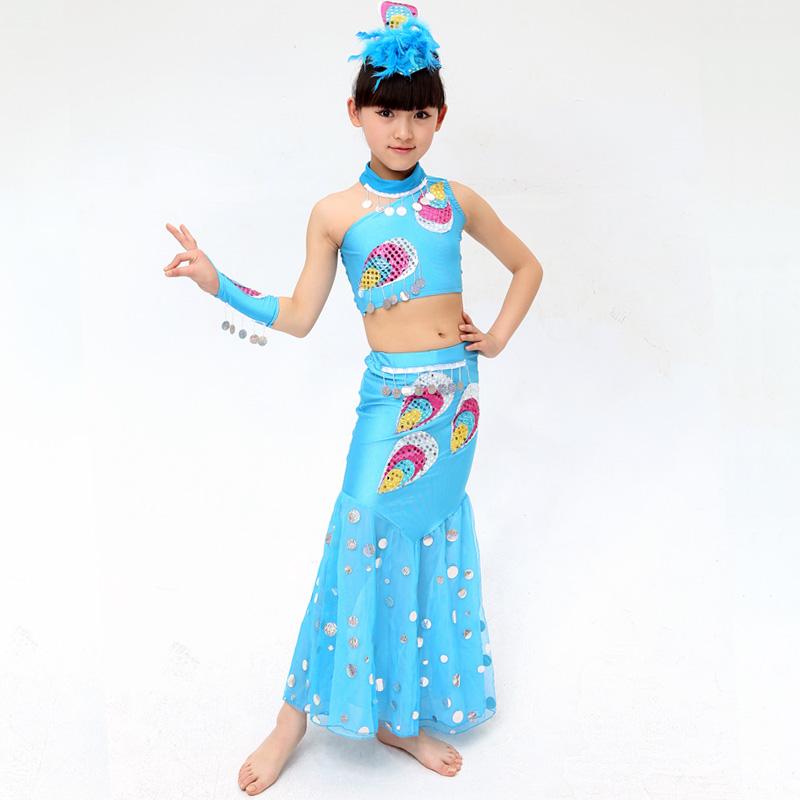 新款儿童傣族舞服装女童孔雀舞表演服 幼儿民族舞蹈演出服舞台服_浅