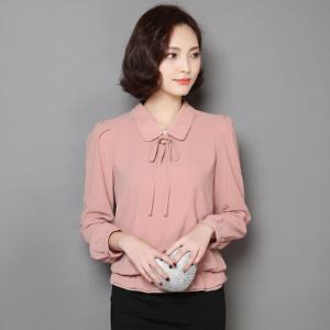 【当当年中庆】秋新款韩版娃娃领雪纺衫上衣长袖宽松系带显瘦衬衫女