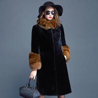 宝字号狐狸毛领羊剪绒皮毛一体女大衣羊羔毛皮草外套女长款