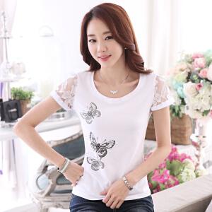 波柏龙 2017夏季新款短袖T恤女夏天体恤修身显瘦纯棉纯白色蕾丝打底衫韩版内搭女装
