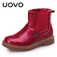 UOVO2017冬季新款女童靴子保暖防滑童鞋中筒系带毛绒儿童雪地靴  露云娜美