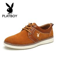 花花公子新款男鞋反绒皮运动板鞋英伦潮流休闲鞋低帮鞋子 乐-CX37523