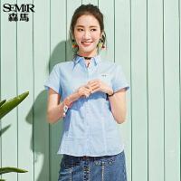 森马短袖衬衫夏装女士休闲粉色纯棉小清新打底衬衣韩版女