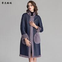 冬季新款羊剪绒皮草外套时尚立领收腰两面穿皮毛一体女装