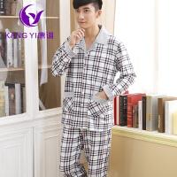 香港康谊 新款秋季男士时尚魅力加厚长袖针织棉 优雅衬衫帅气家居服套装