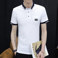 2017夏季新款男士翻领POLO衫 韩版条纹短袖T恤 男2392