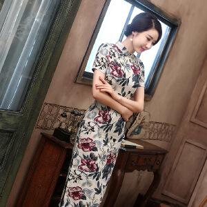 【当当年中庆】波柏龙 2016新款长款亚麻旗袍 时尚复古连衣裙短袖旗袍  墨梅