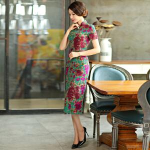 波柏龙 春夏装复古修身显瘦短袖大码改良亚麻长款旗袍裙