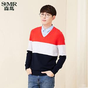 森马针织衫男 2017春季新款 男士方领套头假两件套头撞色韩版毛衣