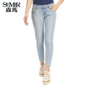 森马夏装新款女装韩版中低腰牛仔裤弹力九分裤显瘦浅色女潮流