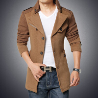 2015秋冬新款男装修身时尚风衣韩版毛呢中长款加绒保暖外套大衣都市潮流