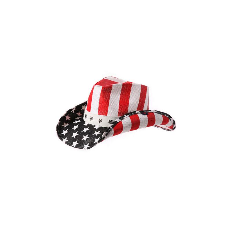 旅游沙滩帽防晒帽太阳帽 帽子男夏天草帽遮阳帽美国国旗西部牛仔帽