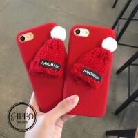 圣诞节可爱小红帽 苹果6手机壳iPhone7/6s/plus创意个性韩国女款 手工毛线帽子 苹果6手机壳iPhone7/6s/plus创意韩国个性可爱女款