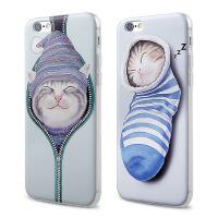 【全国包邮】hidog 苹果iPhone5s手机壳卡通浮雕防摔iPhone5保护套软硅胶萌猫咪