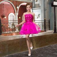 红色新娘结婚敬酒短款晚装小礼服连衣裙毕业礼服婚礼伴娘装演出服