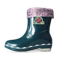 双星 女士防水保暖加绒雨靴内里可拆雨鞋冬季保暖时尚雨鞋女 DSA966