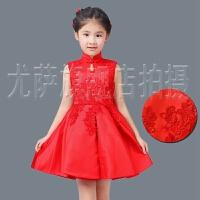 中式复古旗袍公主裙演出春六一红色儿童旗袍生日礼服花童装 女童