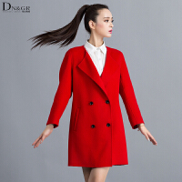 秋冬女士中长款外套翻领九分袖双面羊毛呢大衣女装C16002