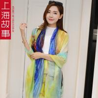 上海故事韩版羊绒印花戒指绒长款披肩两用女春秋季百搭围巾夏季空调围巾
