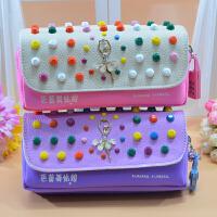包邮 新品韩版芭蕾舞姑娘双层大容量密码锁笔袋 学生铅笔盒 大容量文具盒