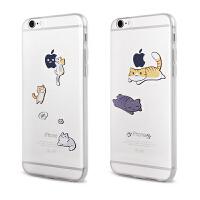 【全国包邮】hidog 苹果iPhone6plus手机壳卡通创意透明个性猫咪6splus软保护套