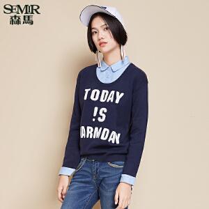 森马毛衣 冬装 女士方领套头字母假两件宽松针织衫韩版潮