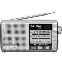 【当当自营】 熊猫/PANDA T-01多全波段便携式插卡充电半导体收音机老人播放器 银色
