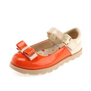 鞋柜女童中大童新款时尚蝴蝶结撞色舒适公主皮鞋