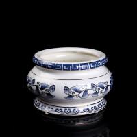 佛具 青花瓷香炉 陶瓷香插 白瓷 手绘莲花 佛教用品 立香