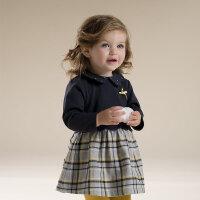 davebella戴维贝拉女童秋装新款长袖连衣裙 婴儿裙子27089