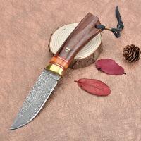 spike 大马士革刀 战国木柄刀 刀具高硬度军刀手工刀具 户外野营直刀