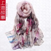 上海故事丝巾女士夏防晒披肩百搭新款2017羊毛桑蚕丝喷绘真丝围巾