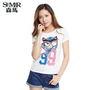 森马 夏装新款短袖T恤韩版女装百搭圆领套头印花T恤打底衫
