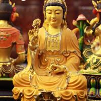 纯铜金沙橙观音菩萨佛像摆件 观音像观世音菩萨莲花底座