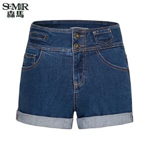 森马水洗牛仔裤 夏装 女士高腰牛仔短裤直筒裤韩版热裤潮