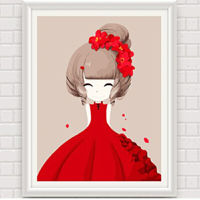 数字油画 动漫卡通人物少女手绘装饰画 儿童可爱卧室 花花姑娘_海棠