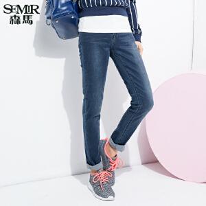 森马水洗牛仔裤 春装 女士韩版中低腰修身显瘦牛仔长裤子