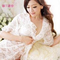 蕾丝吊带睡裙两件套 铃兰069夏季性感睡衣 女透明诱惑内衣家居服