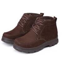 冬季男士棉鞋加绒皮毛一体男靴高帮鞋工装靴皮靴男士短靴休闲鞋中老年男靴送爸爸