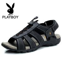 花花公子 夏季新款凉鞋八爪鱼男鞋魔术贴沙滩鞋透气休闲鞋 德-CX37550
