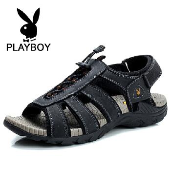 花花公子 夏季新款凉鞋八爪鱼男鞋魔术贴沙滩鞋透气休闲鞋 德CX37550
