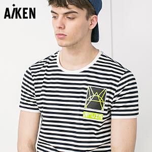 Aiken短袖T恤男士2017夏装新款圆领套头半袖体恤男字母印花上衣潮