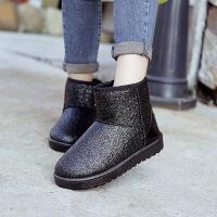 彼艾2016冬季新款靴子女鞋加厚短绒靴平跟中筒平底防滑亮片雪地靴棉鞋